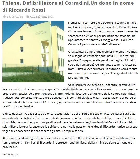 Thiene Defibrillatore al Corradini Un dono in nome di Riccardo Rossi - AltoVicentinOnline